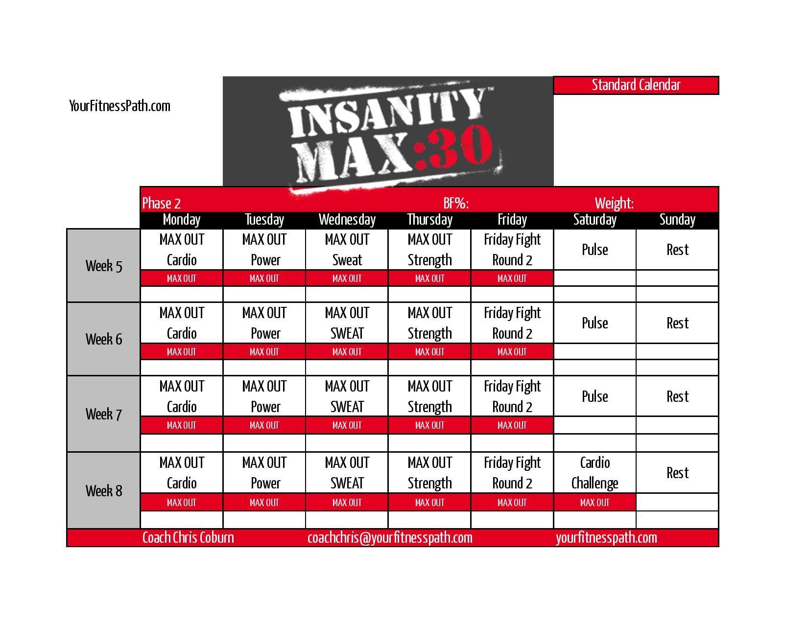 Insanity Max 30 Calendar Month 2 Regular Https Www Youcalendars Com Insanity Max 30 Calendar Html Insanity Max Insanity Max 30 Insanity Max 30 Calendar