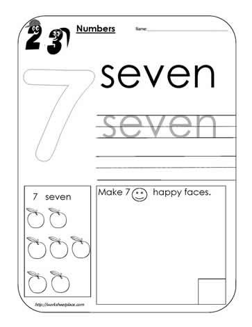 number 7 worksheet kindergarten math pinterest worksheets math and kindergarten math. Black Bedroom Furniture Sets. Home Design Ideas