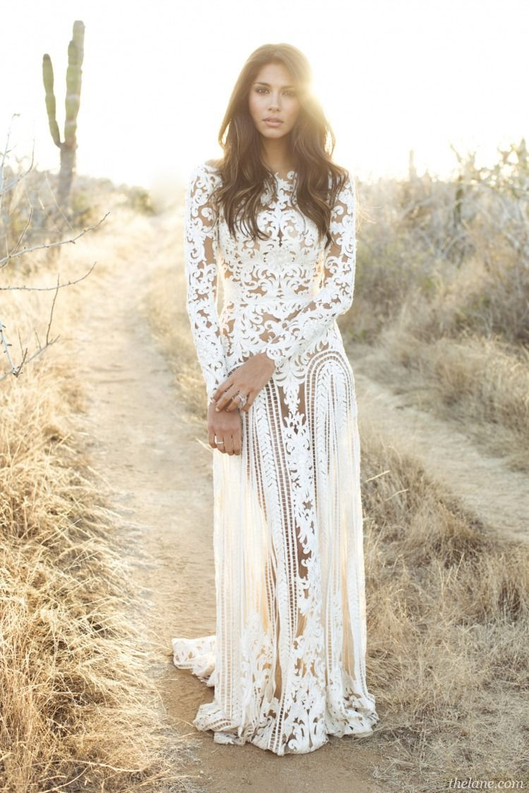 Brunette hippieboho gal w waves in white wedding dress gown