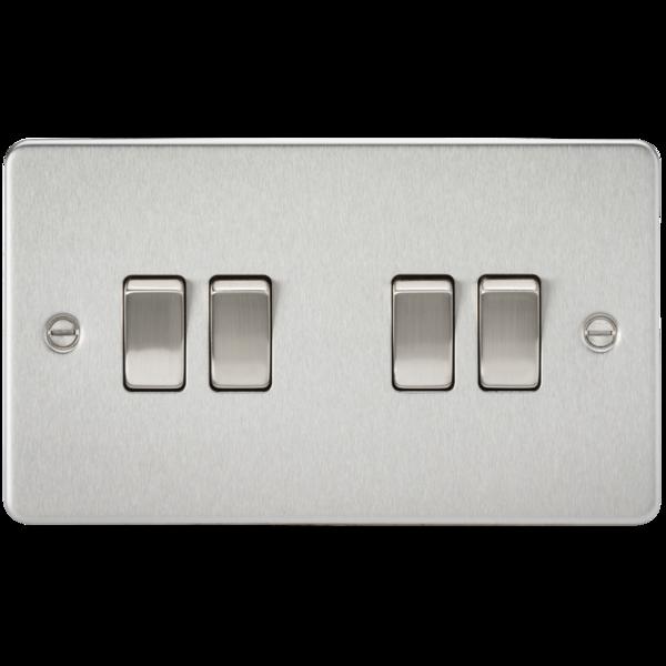 Knightsbridge Fp4100bc Flat Plate 10a 4g 2 Way Switch Brushed Chrome Wall Mounted Light Light Switches And Sockets Light Switch