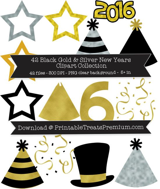 42 black gold and silver new years clipart collection