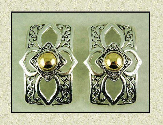 2 Hole Metal Slider Beads QTY 2 TWO TONE Bangle Cuff Bars Filigree Flourish Pattern
