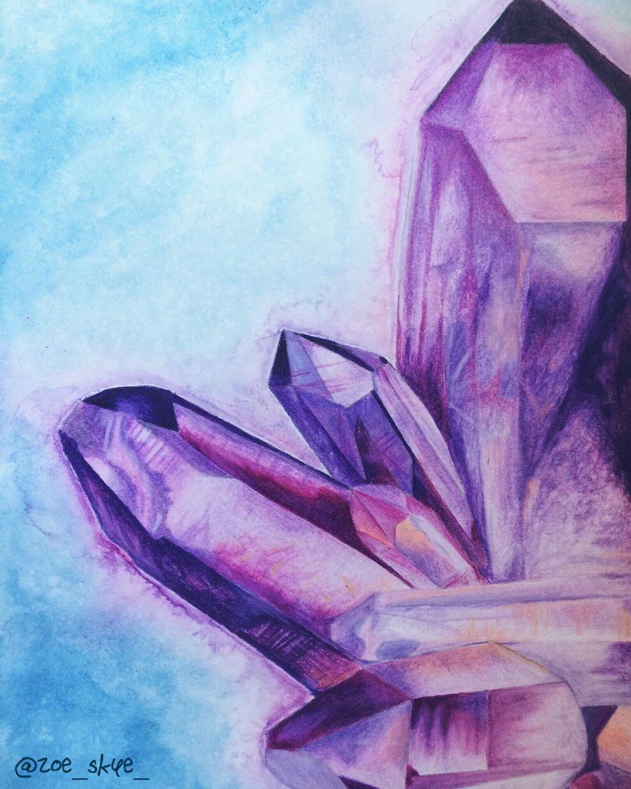 Crystal Art Colorpencil Color Purple Analogous Gem