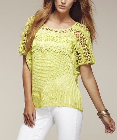 Another great find on #zulily! Cactus Lime Crocheted Cape-Sleeve Top #zulilyfinds