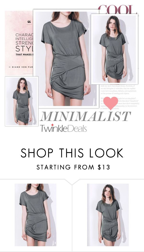 """""""TwinkleDeals"""" by k-lole ❤ liked on Polyvore featuring dress, grey, short and Scoop"""