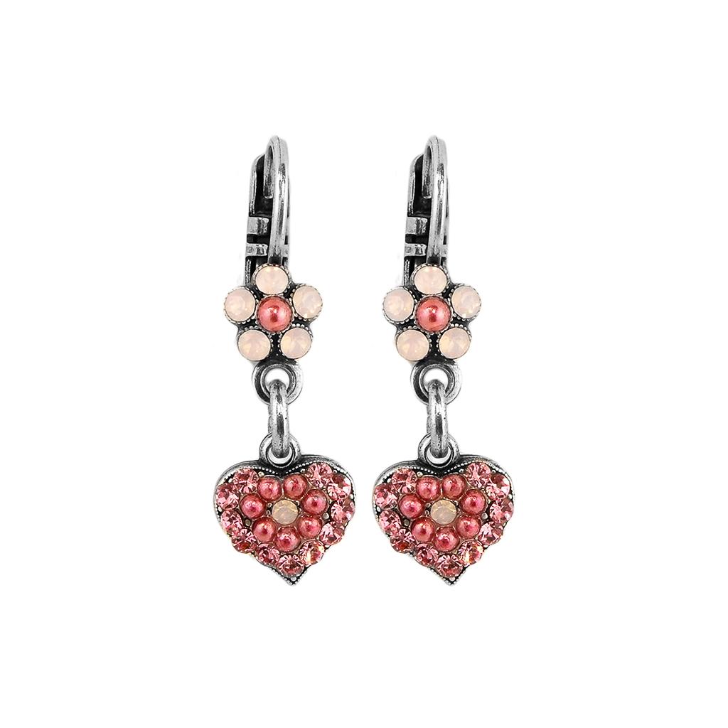 Photo of Flower and Heart Leverback Earrings in Antigua *Preorder* – Rose Gold