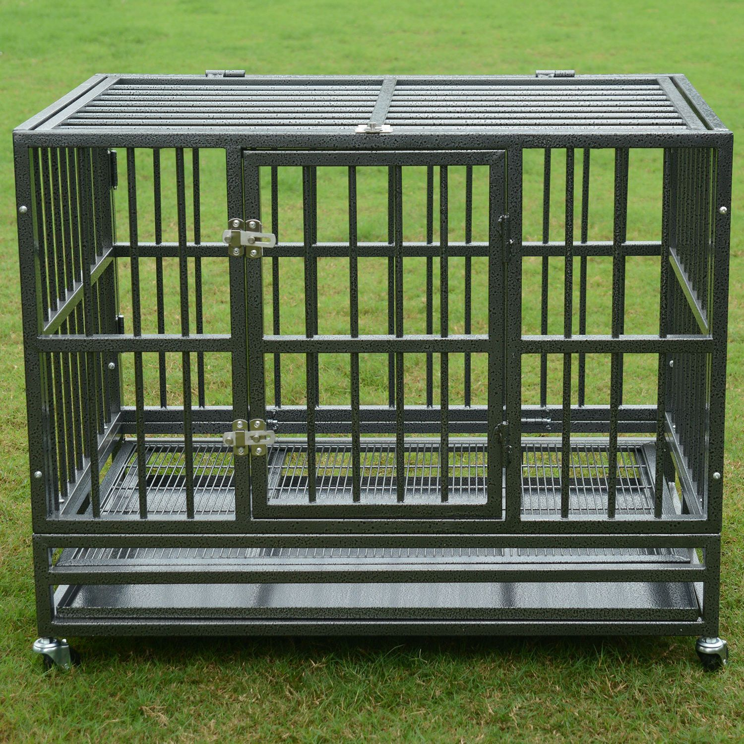 """37/"""" or 48/"""" Heavy Duty Strong Metal Pet Dog Cage Crate Kennel Playpen Wheels/&Tray"""