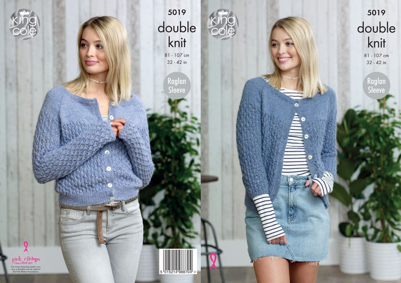 d30e3df00 King Cole Double Knitting Pattern - Ladies Cardigans (5019) - Mill Outlets