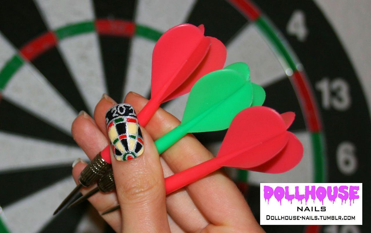 I did a dartboard nail in honor of my boyfriends new hobby.You Tube ...
