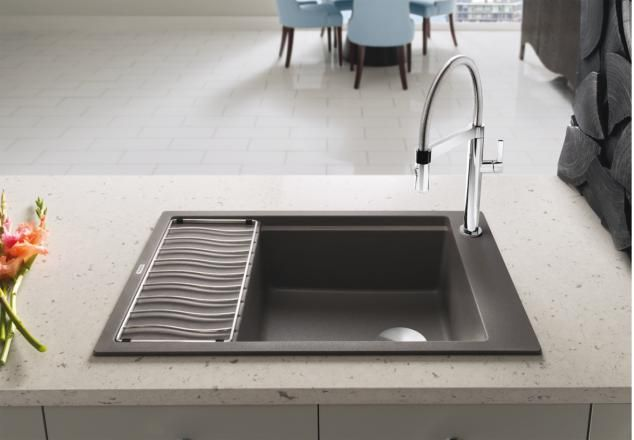 Blanco Precis Medium Single With Drainer Silgranit With Images Silgranit Sink Sink Professional Kitchen Faucet