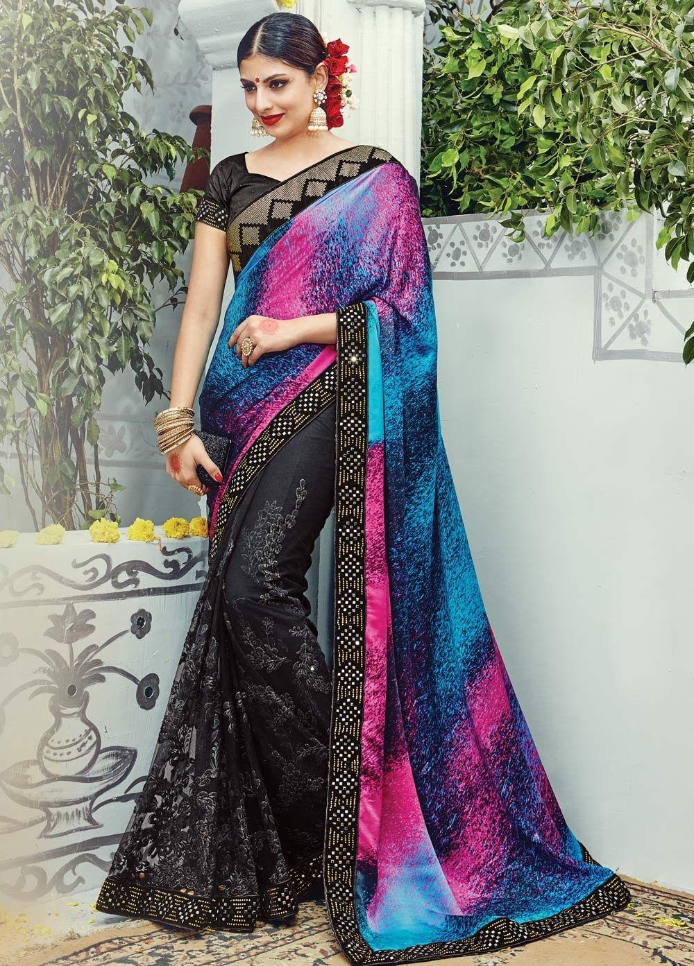 Elegant Satin and #Net #Partywear #Saree