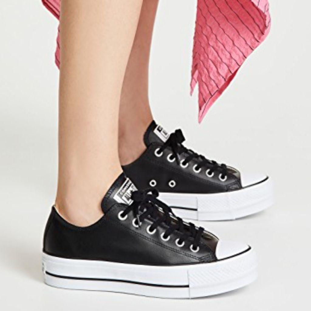 CONVERSE Platform Leather Fashion Sneakers   Leather fashion ...
