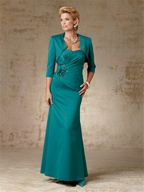 Elegant sheath long jade taffeta mother of the bride dress with ...