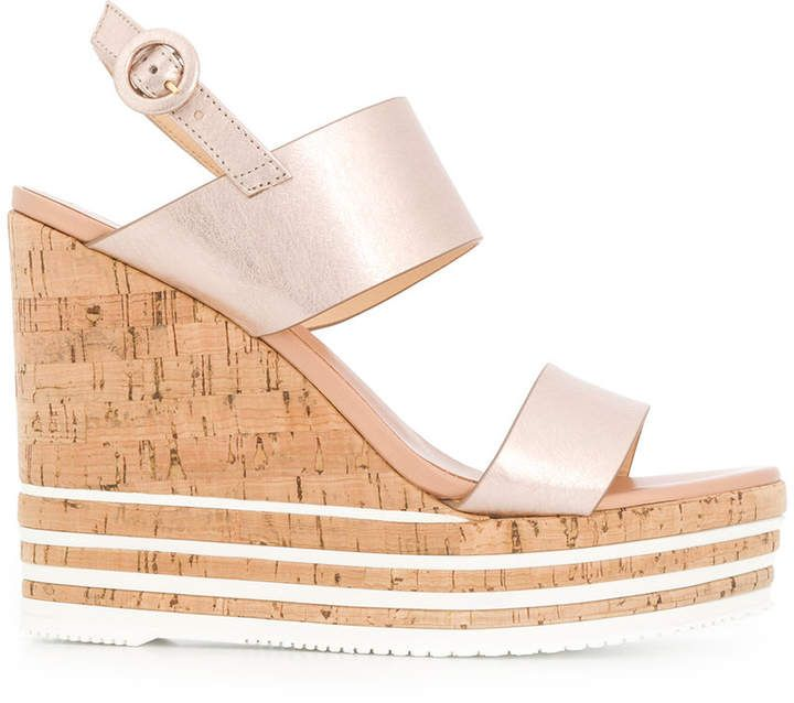 b21b314d7b Nude #leather strappy striped #wedge #sandals from Hogan. | Most ...