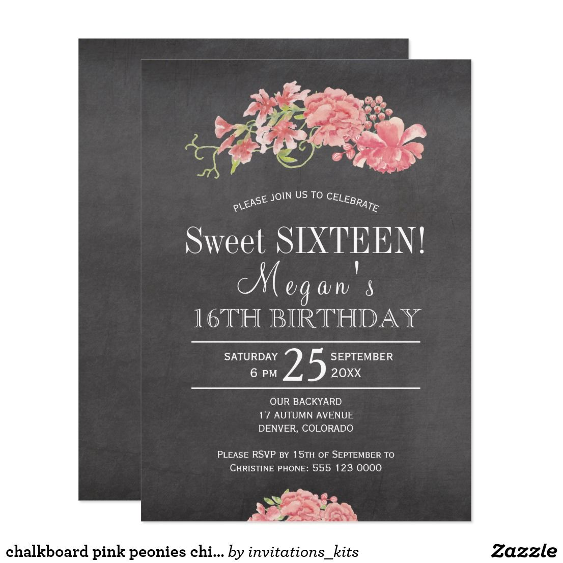 Chalkboard pink peonies chic floral sweet sixteen card | Party ...