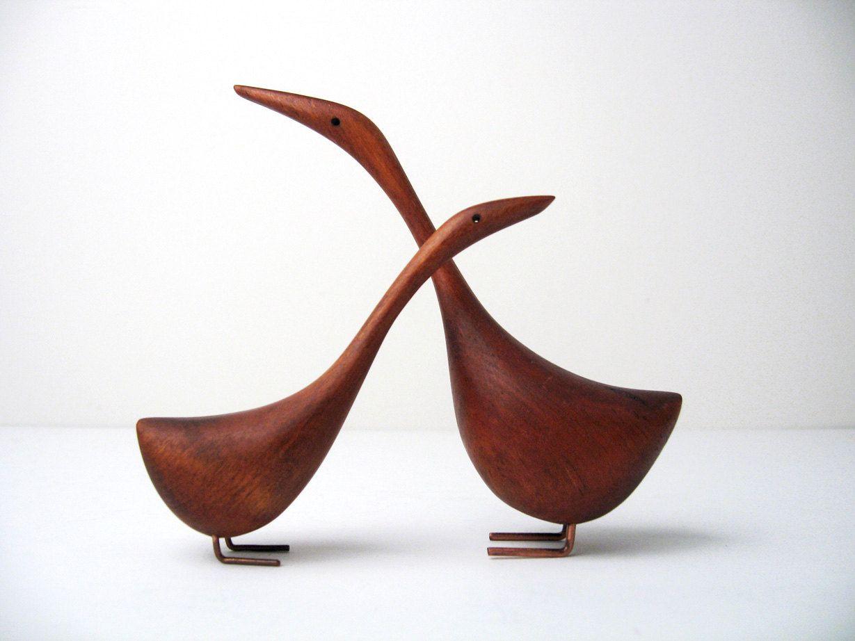 danish modern wooden handcarved bird figurines with copper legs  - danish modern wooden handcarved bird figurines with copper legs  bojesen bolling era
