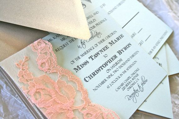 Mint Green And Gold Wedding Invitations: Lace Wedding Invitation Lace Gold Mint Peach By FairestLJ