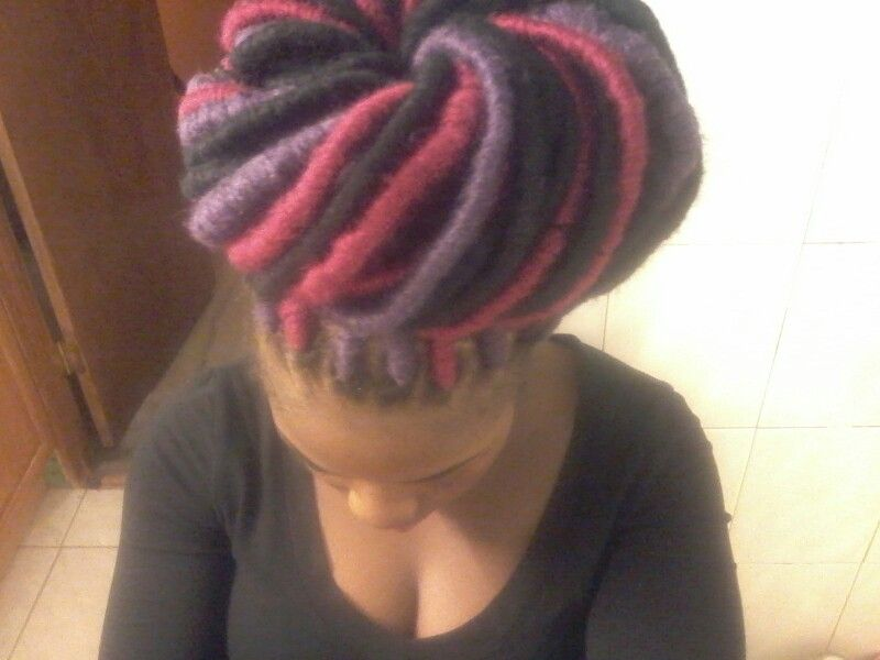 Colorful yarn locs done by yours truly