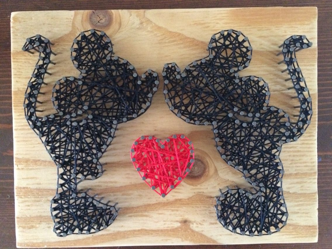String art craft kit - Disney Mickey Mouse And Minnie Mouse Silhouette With Heart String Art Black And Red String On
