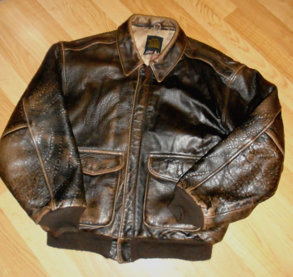 Avirex Vintage Men S Small Leather Bomber Jacket Air Forces A 2 Guc Brown Leather Bomber Jacket Jackets Bomber Jacket [ 946 x 1000 Pixel ]