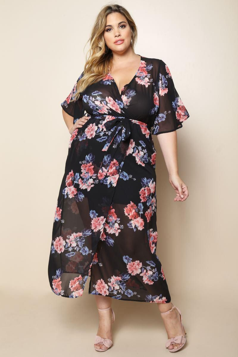 Plus size sheer surplice floral maxi dress products