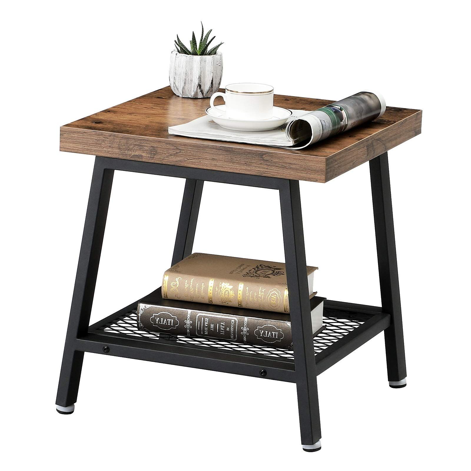 Vasagle 2tier End Table Industrial Nightstand Coffee Table With Storage Shelf Wood Look Accent Furniture With Metal Frame Ulet42x To V Table Side Table With Storage Coffee Table With Storage