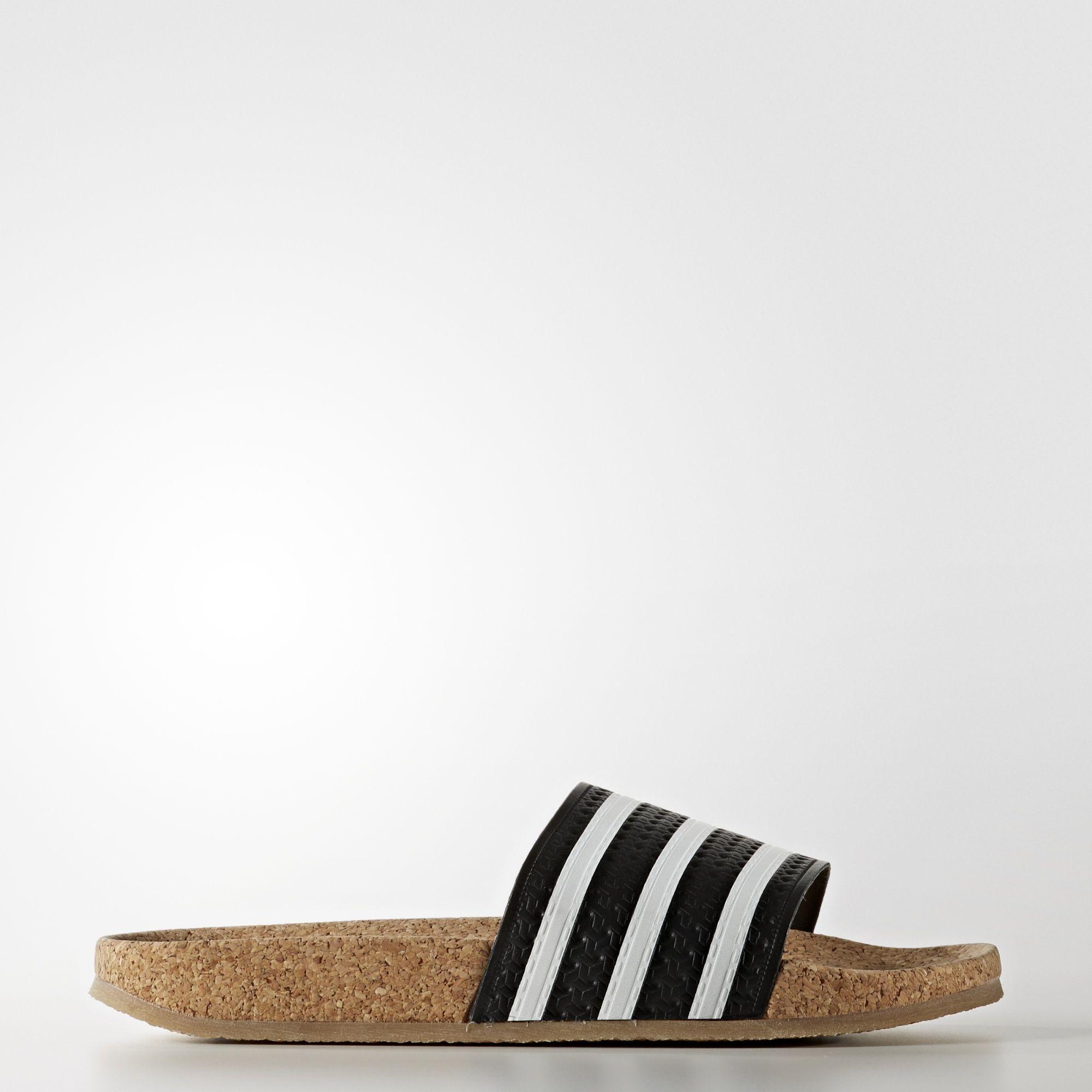 fd0af52ec328ab adidas adilette Cork Slides - Black