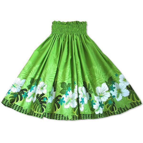 1564858ccc Pa'u Hula Skirts ❤ liked on Polyvore featuring skirts, floral knee length  skirt, green skirt, floral skirt, colorful skirts and floral printed skirt