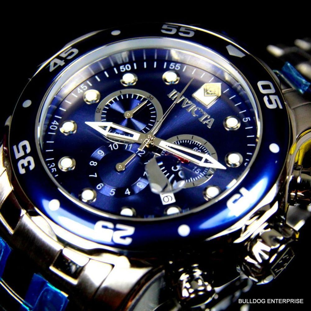 details about mens invicta pro diver s silver blue steel mens invicta pro diver s silver blue steel chronograph swiss parts watch new invicta