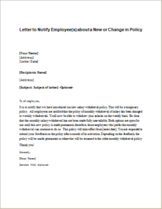 Letter To Notify EmployeeS About A New Or Change In Policy