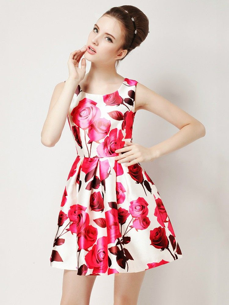 Sweet Rose Printed Sleeveless Summer Mini Dress