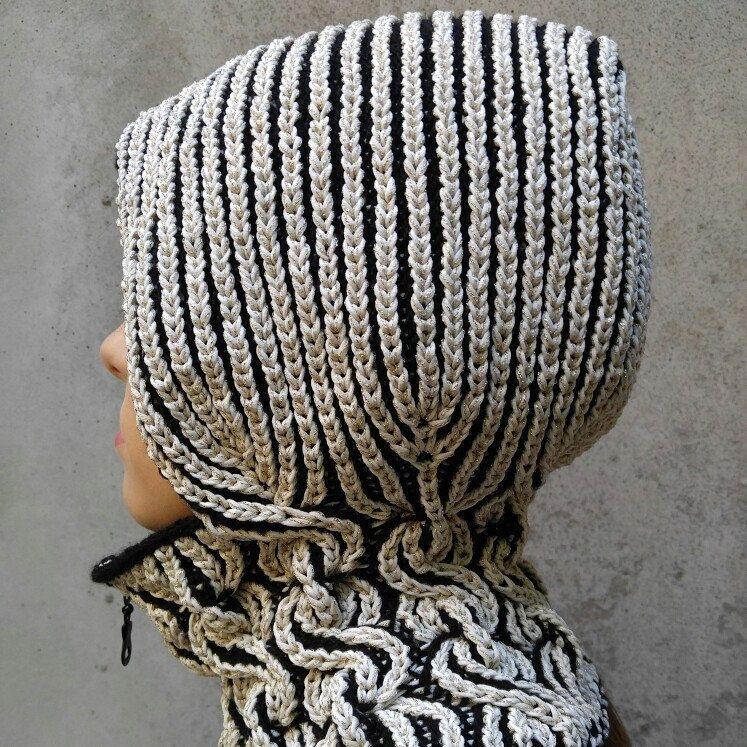 Lux winter hood with neck-warmer, warm hat, balaclava, hand knit hat ...