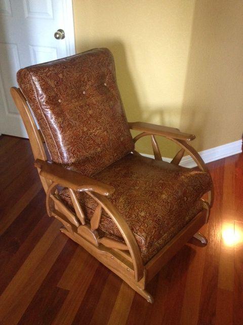 Custom Tooled Leather Vintage Wagon Wheel Rocker