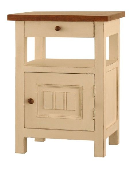 Right-sided cabinet, Arles Collection.Right-sided cabinet made of exotic koa wood. The simple construction, accented by the contrasting top, the door ornamented with strips and the patinated wood draw on Provence style.