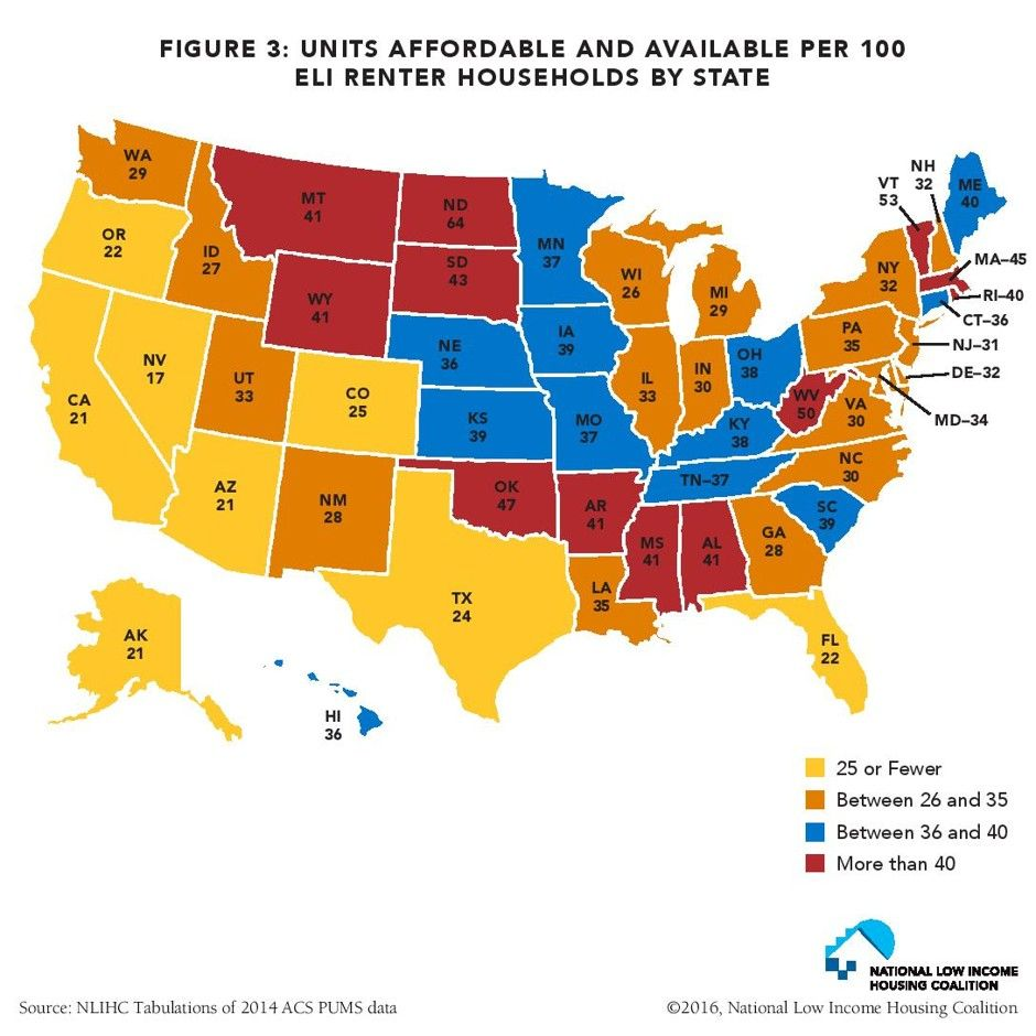 Mapping America S Appalling Affordable Housing Deficit Overall Only 31 Cheap Rental Units Are Available