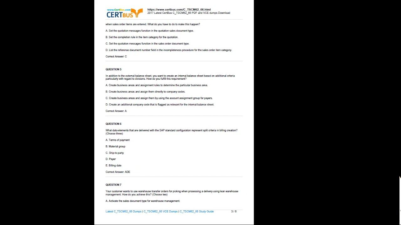 Free Certbus SAP C_TSCM62_66 PDF and Exam Questions Download