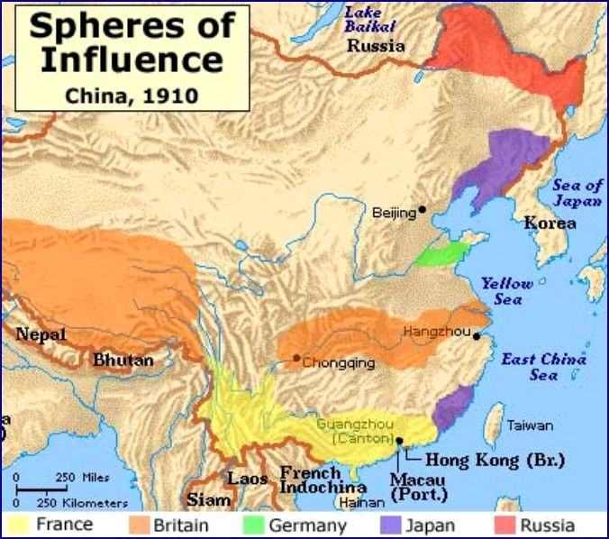 Map china 1910 spheres of influence section 1 the decline of the explore ap world history american history and more gumiabroncs Gallery