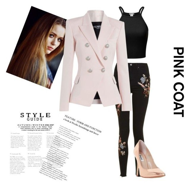 """""""Pink Coat"""" by carson-1005 ❤ liked on Polyvore featuring Topshop, Toni&Guy, Balmain and Dune"""