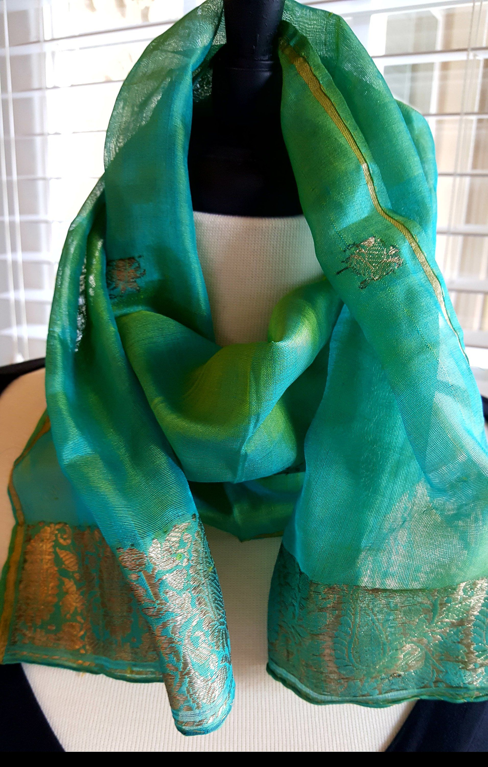 6b79d55f98548 Pure Silk Scarf Long 44 Inches INDIA Turquoise Green Gold Brocade Art Shot  Silk Indian Silk Hand Rolled Vintage Beautiful Accessory by  BeautyFromThePast on ...