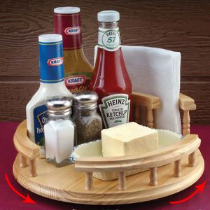 wooden lazy susan u0026 napkin holder keep condiments and kitchen supplies at your fingertips with