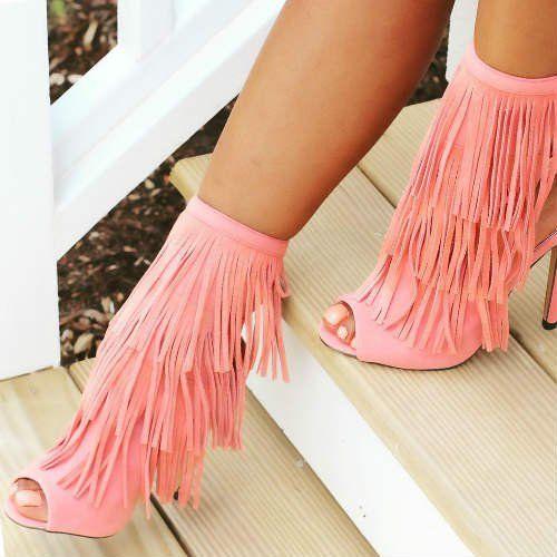 Photo of Peep Toe Fringe Stiletto Booties