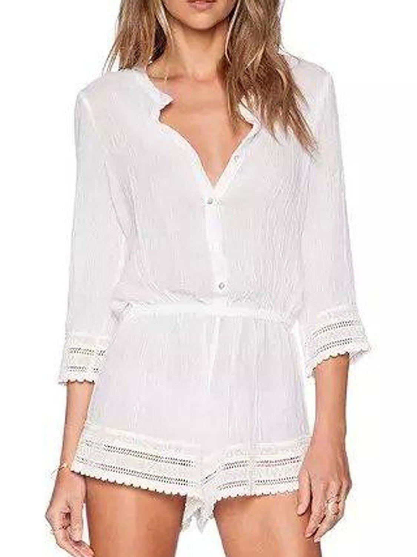 8bea58529e9c9 Amazon.com: Choies Women's Cotton White V Neck 3/4 Sleeve Lace Hem ...