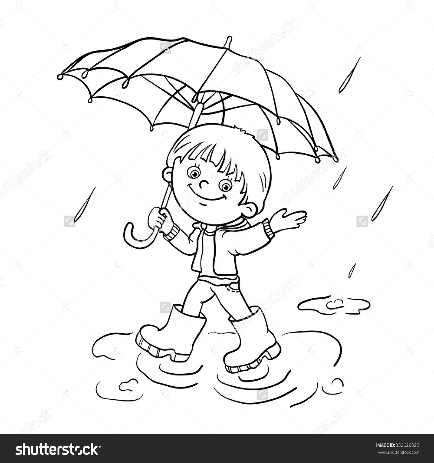 Boy With Umbrella Coloring Page on Coloring Page Of An Umbrella With Raindrops