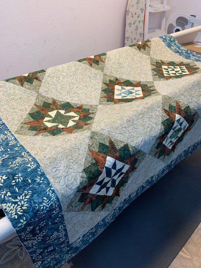 Forest Floor Star Sampler Quilt 71 x 92 blue green