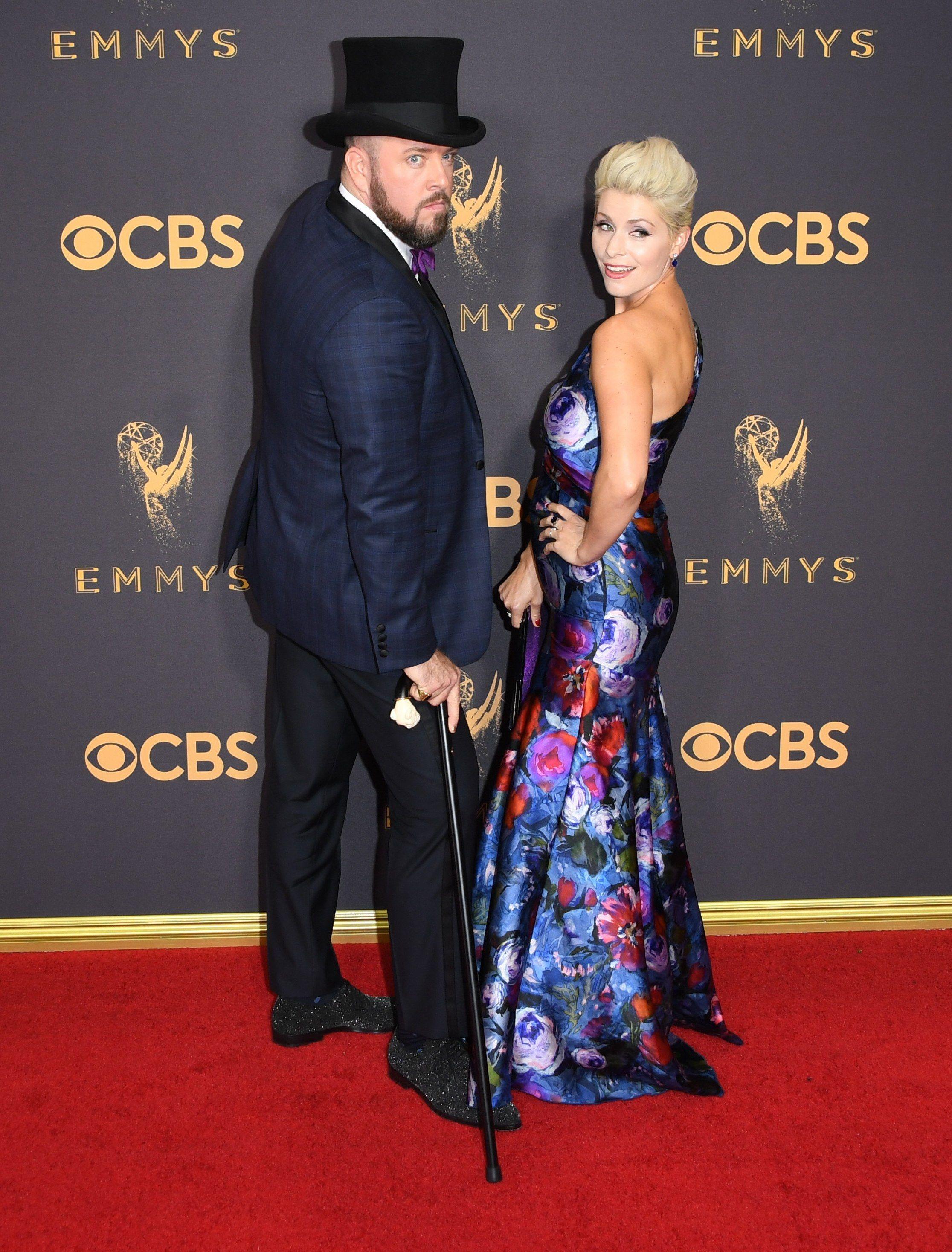 Celebrity Fashion and  Emmy Awards 2017 - Chris Sullivan and Rachel  Reichard save off 0f837 7f95b  Versace ... 8c217cd53dbe0