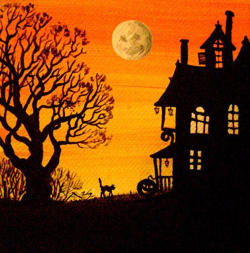 4X4 PRINT OF PAINTING RYTA HALLOWEEN FOLK ART BLACK CAT MAN ON THE MOON