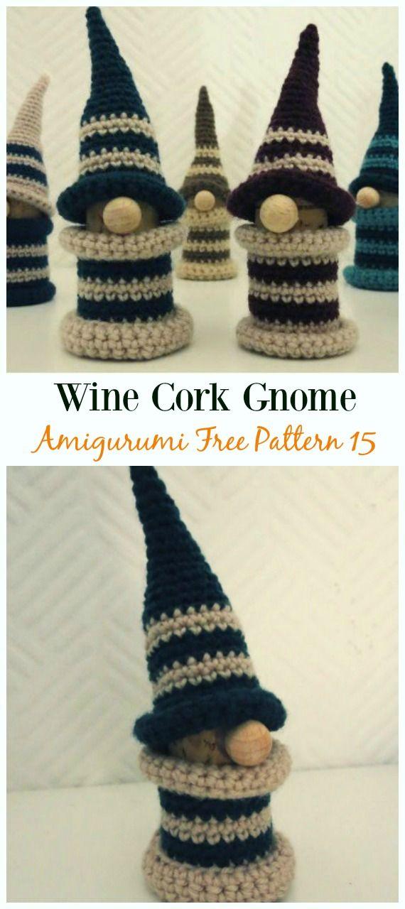 Wine Cork Gnome Amigurumi Crochet Free Pattern - Free#Amigurumi ...