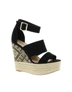 fc293040eb5 New Look Black Aztec Edpadrille Wedge Sandals | Catwalk | Wedge ...