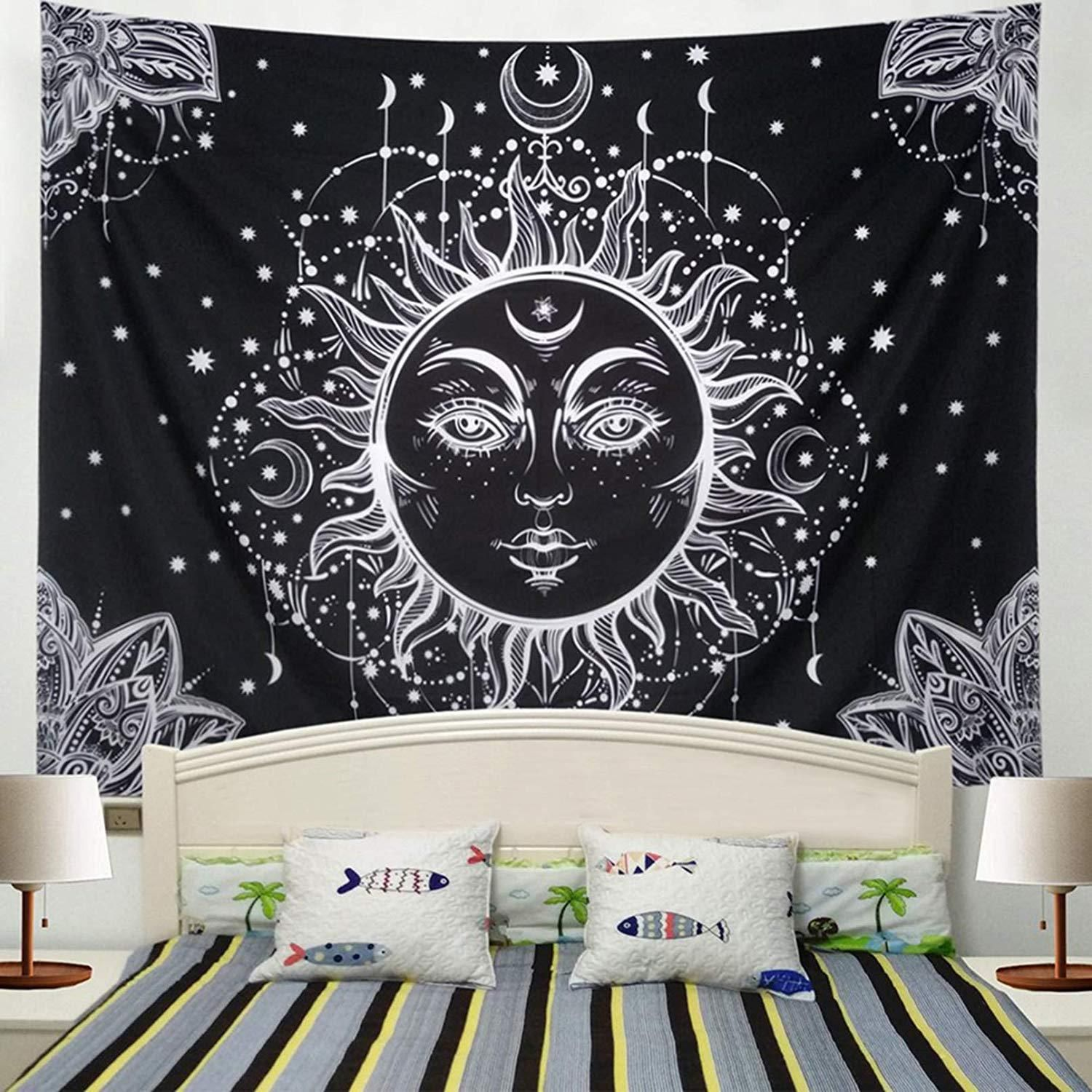 Indian Mandala Tapestry Wall Hanging Black and white Decor home Psychedelic