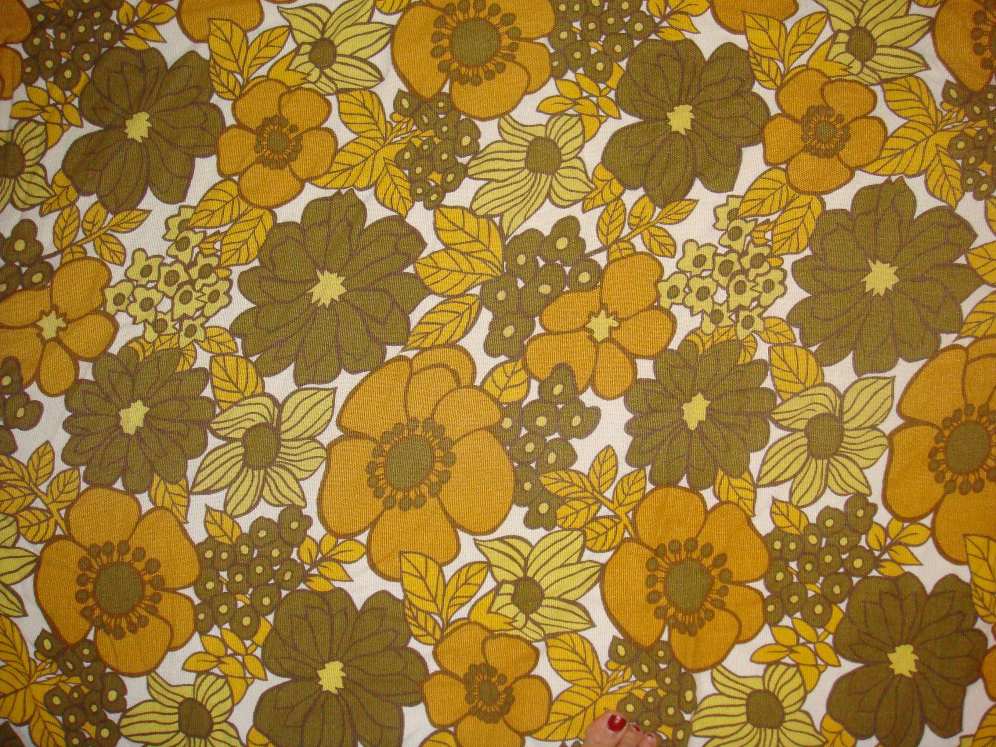Yellow Floral Vintage 60s Handmade Cushion Cover Floral